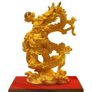 Tượng Rồng Cõng Di Lặc Phủ Cát Vàng 24k