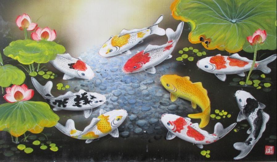 Tranh cá chép cũng vô cùng được ưa chuộng trong gia đình Việt